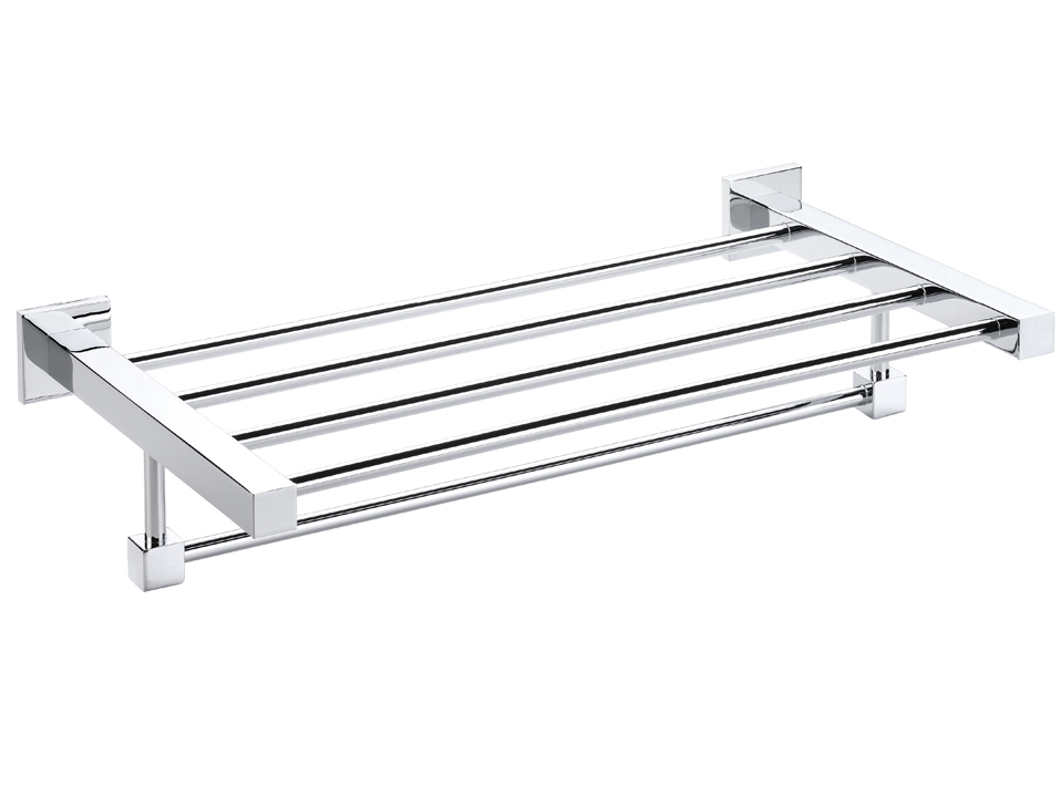 Towel rack with rail, chromed brass