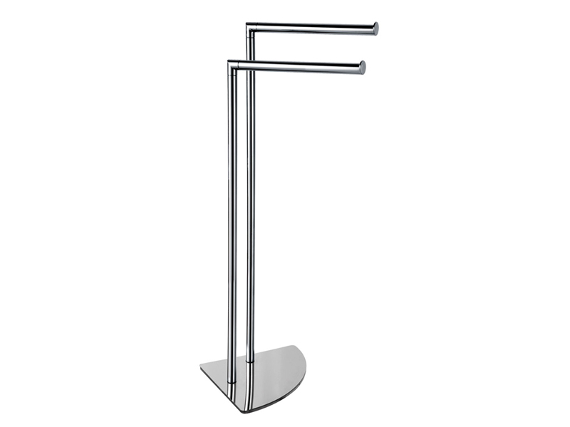 Towel stand, 2 rails; steel and brass; chromed
