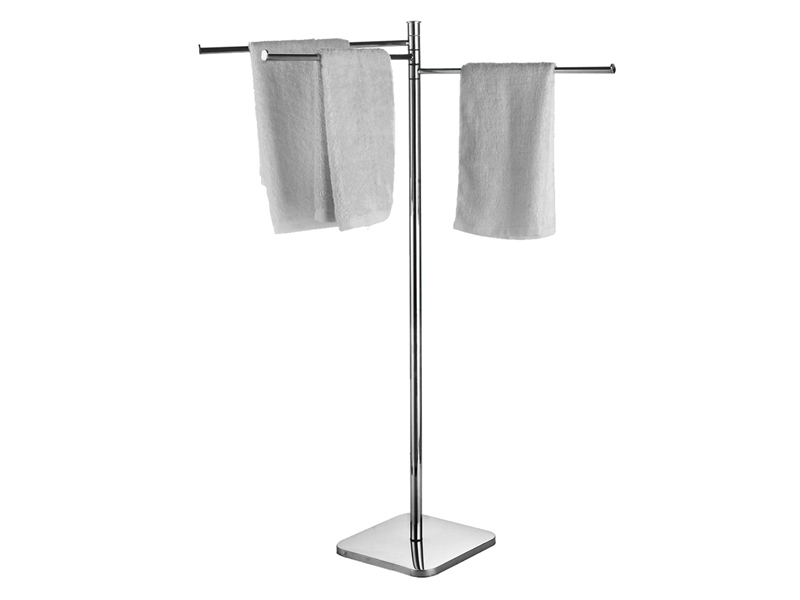 Towel stand, 3 rails; steel and brass; chromed