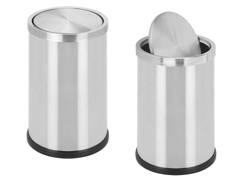 Tipping dustbin, mat steel