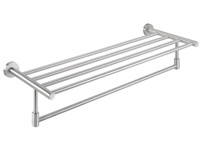 Towel rack with rail, stainless steel