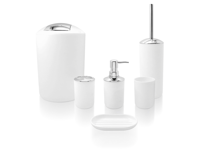 SET 6 PIECES ABS WHITE / CHROME