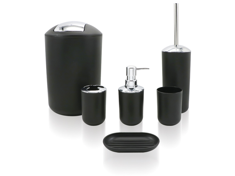 SET 6 PIECES ABS BLACK / CHROME