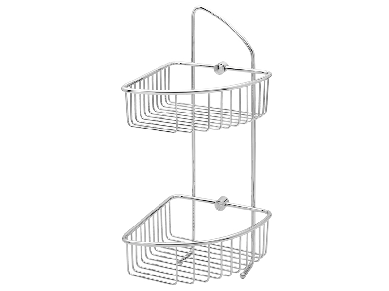 Double corner wall soap basket with 2 hooks